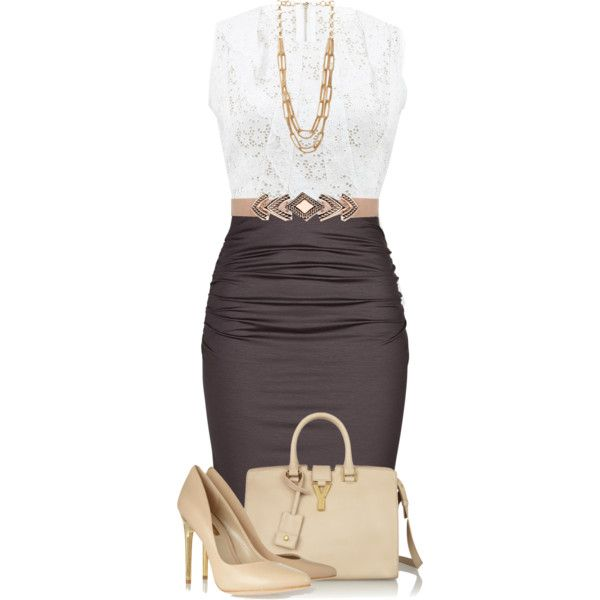 ~Entire~Attire~ beauty classy lady! Pencil skirt neutral purse and pumps