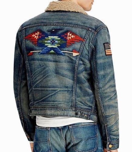 6559effa52 Polo-Ralph-Lauren-Men-USA-Flag-Southwestern-Aztec-Shearling-Trucker-Denim- Jacket
