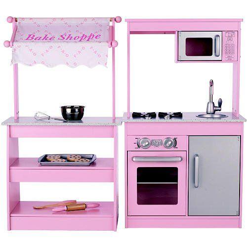 Pink Play Kitchen Set amazon: fao schwarz wooden bake shoppe - girls pink kitchen