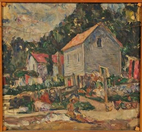 Barn with Figures - Abraham Manievich