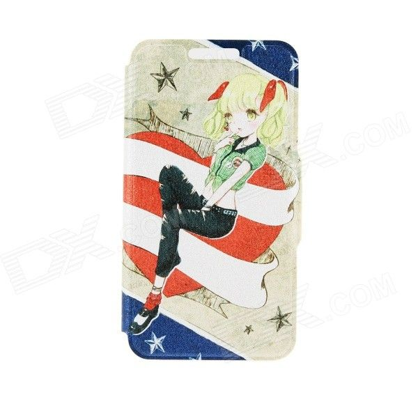 Kinston Dream Girl Pattern Protective PU Leather Case Cover Stand for IPHONE 6 Plus - Red + Blue