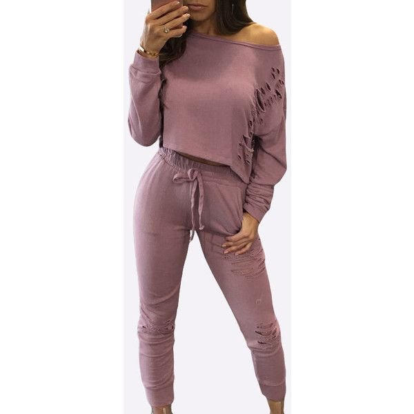 Yoins  Pink Sexy Co-ords with Hollow Details ($22) ❤ liked on Polyvore featuring tops, pink, red off the shoulder top, long sleeve tops, crop top, off the shoulder tops and off shoulder crop top