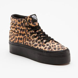 vans leopard sk8-hi platform womens shoes