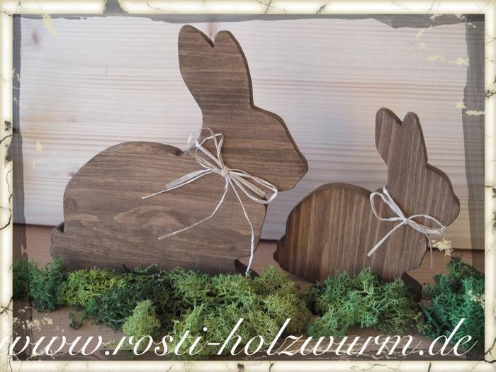 Osterhasen 2 Tlg Ostern Holz Deko Holz Von Rosti Holzwurm Auf