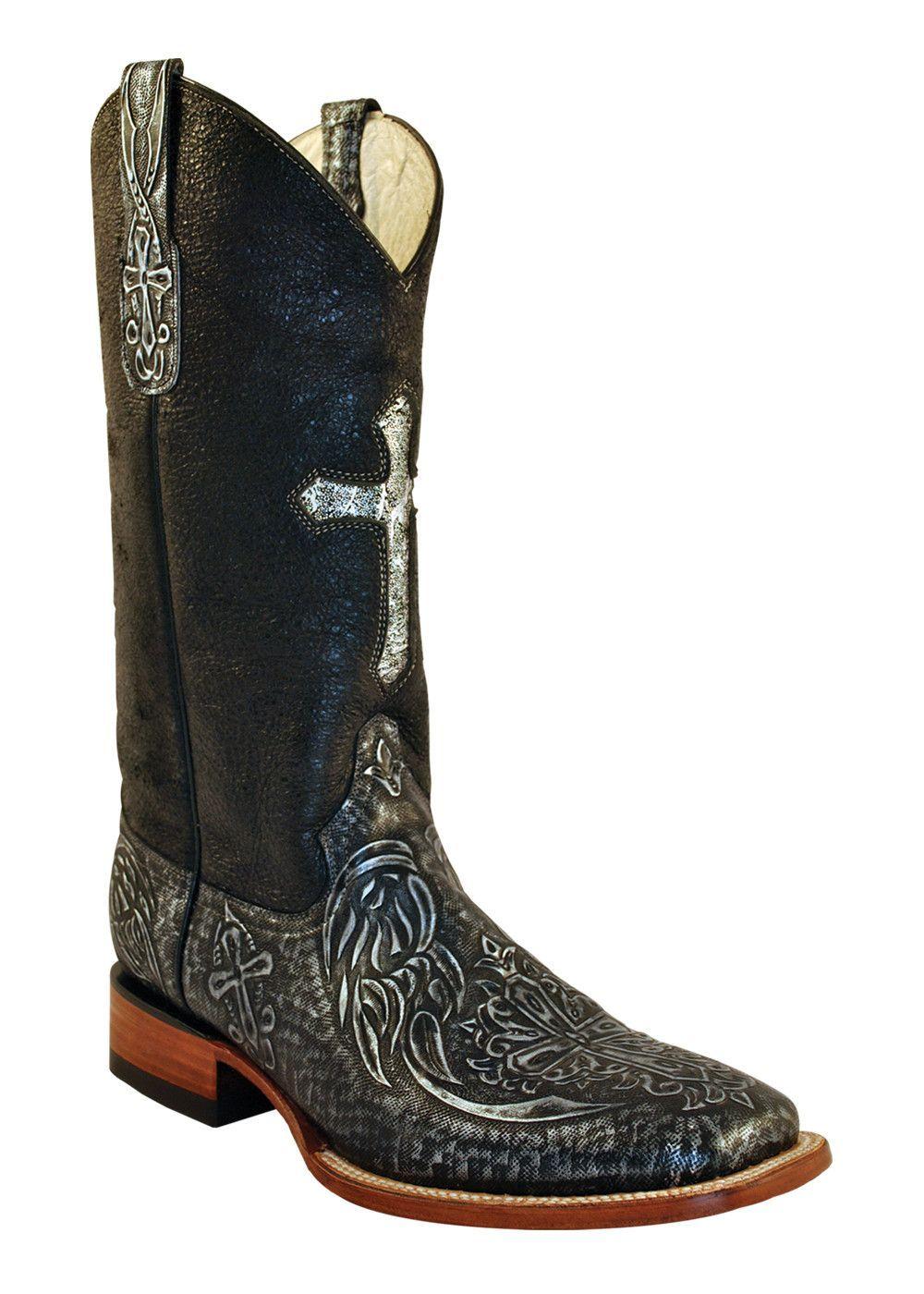 1b1ff526f84 Womens Ferrini Black Silver Embossed Cross Leather Western S Toe ...
