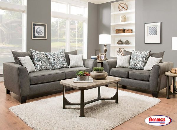 356 LIAM CHARCOAL GREY LIVING ROOM SET  Atractivo Juego