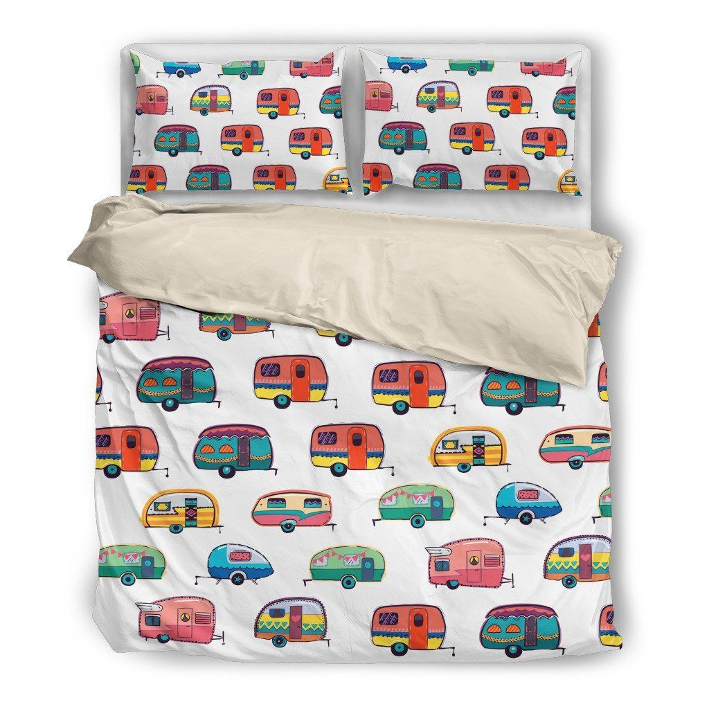 Vintage camping trailer campground camper cotton pillow cover