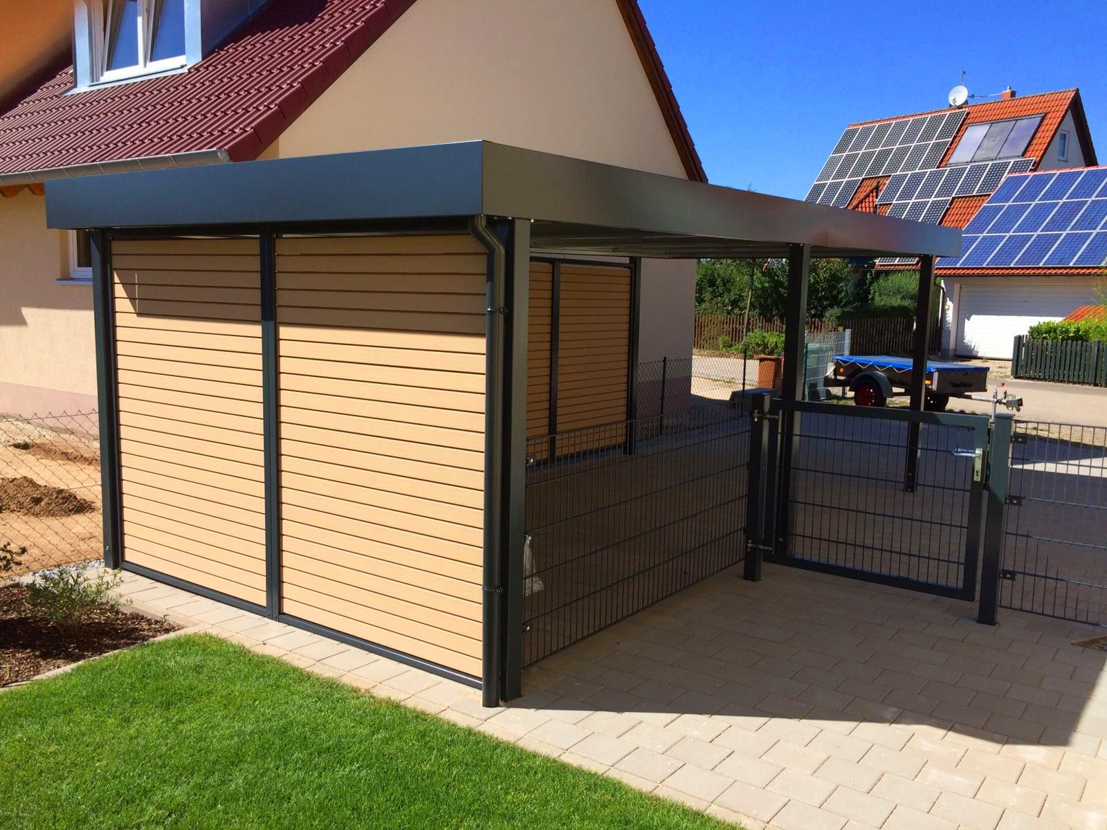 myport carport in anthrazit mit wpc wandelementen carport carports doppelcarport. Black Bedroom Furniture Sets. Home Design Ideas