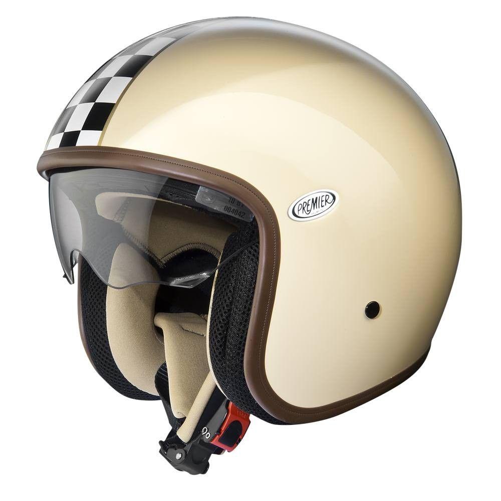 Premier Jet Vintage Helmet Ck Cream Open Face Motorcycle Helmets Free Uk Delivery