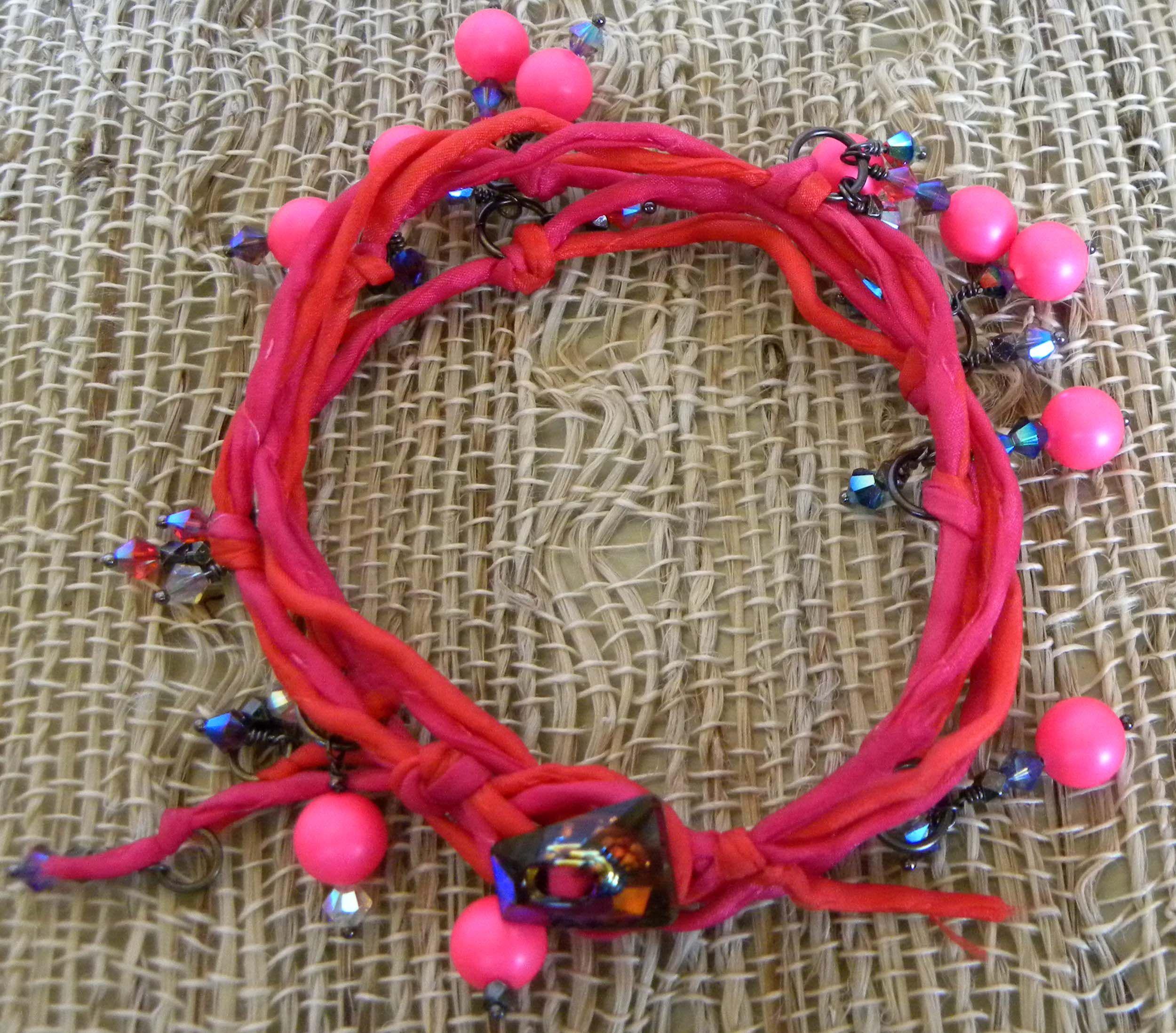 Fireworks & Magic ~ bracelet on silk cord ~ Firework crystal bead assortment, and neon pink Swarovski pearls, as bright as magic.