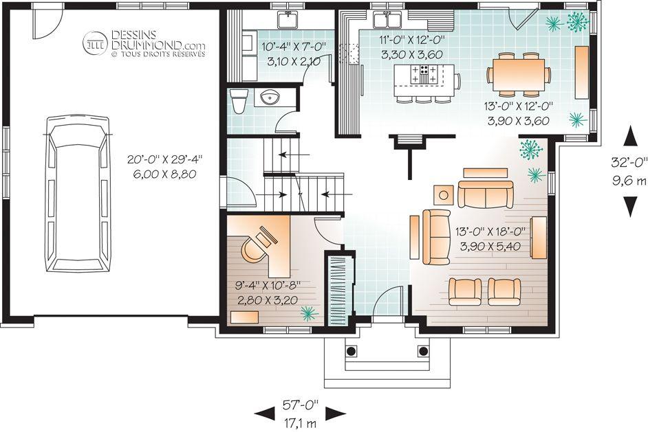 house_plan_maison_niveau_level_RDC_W3460 maison Pinterest House