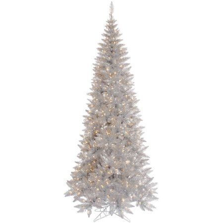 Vickerman 9\u0027 Silver Tinsel Fir Artificial Christmas Tree with 700