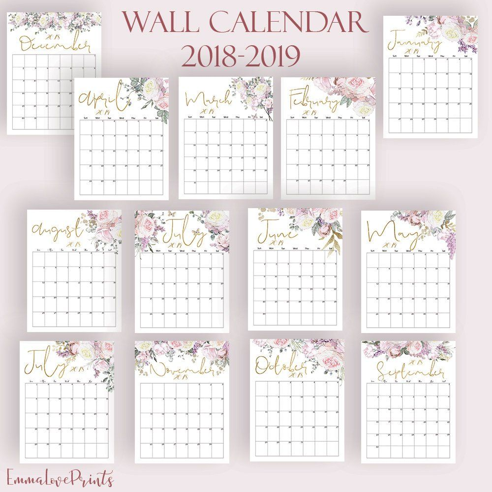 2017 Monthly Calendar Watercolor Floral Set Printable Calendar