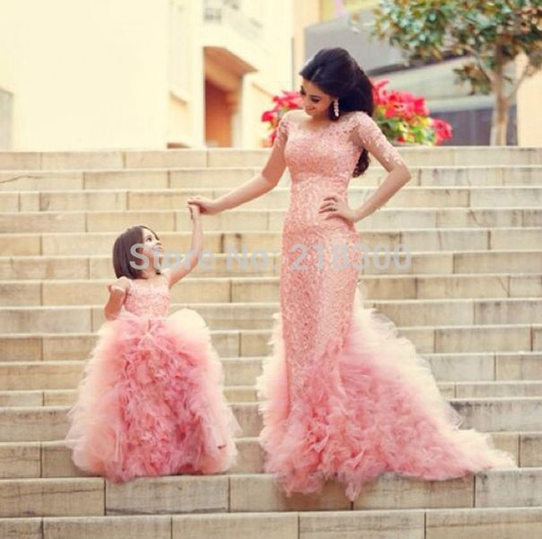 Pink Ruffles Lace Mother and Daughter Dresses Modest Long Sleeves ...