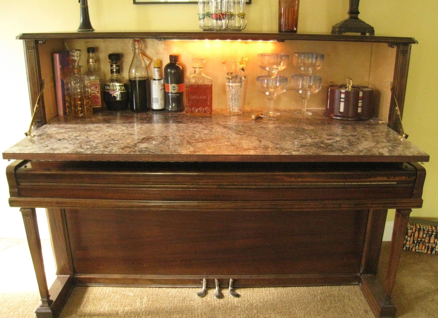 Repurposed Piano Wet Bar The Is Made From A Vintage Upright