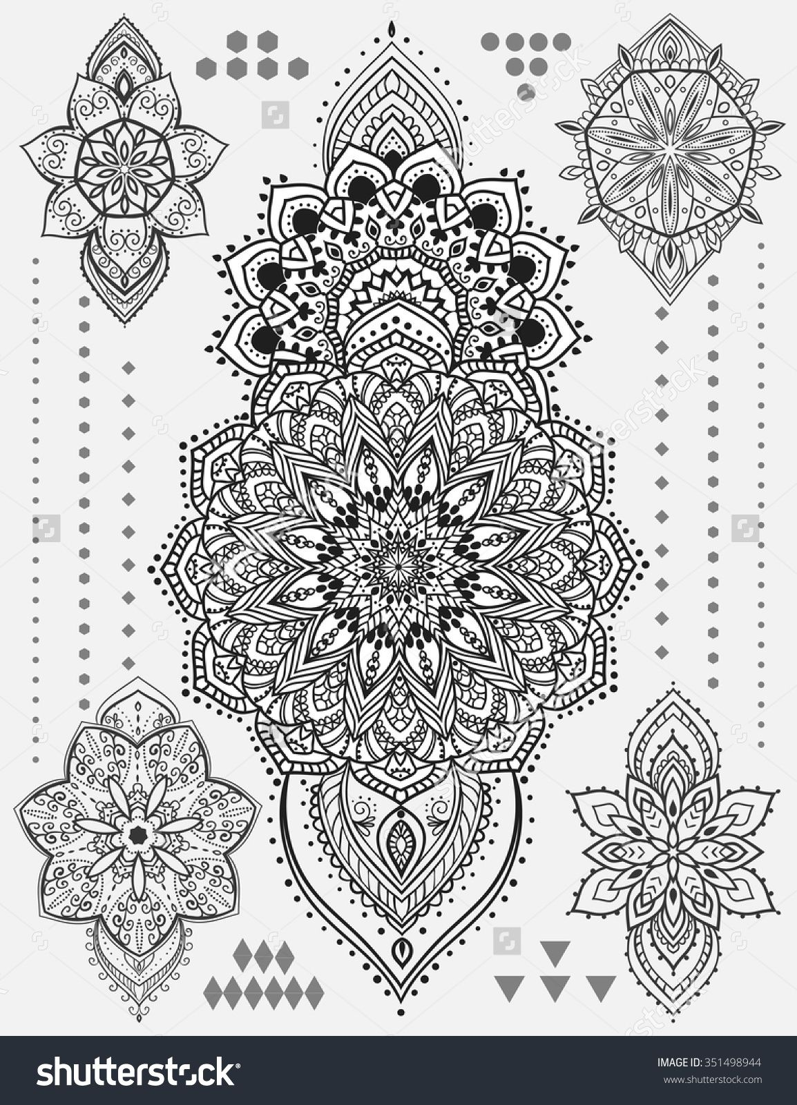 Oblong Mandala Coloring Page Mandala Set And Other Elements Vector Mandala Tattoo Perfect For Mandala Coloring Pages Mandala Tattoo Pattern Tattoo