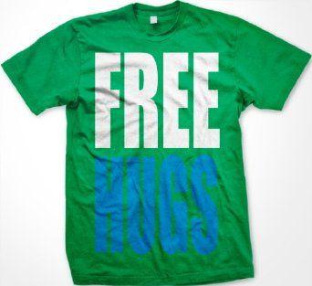 FREE HUGS Mens T-shirt, Big and Bold Funny Statements Tee Shirt $13.95