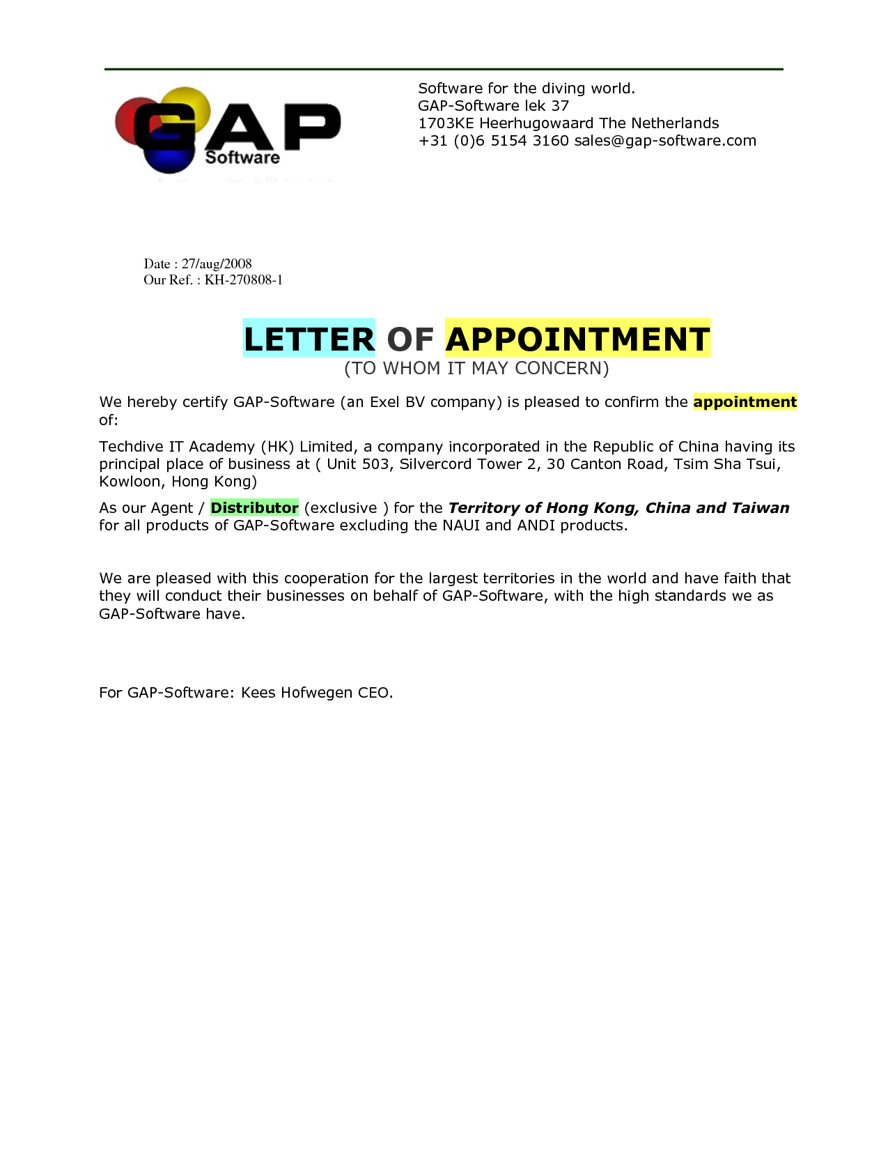 Appointment Letter For Interview Job Drug Prevention And Education