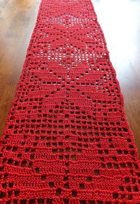 Christmas Table Runner Crochet Doily Crochet Tablecloth