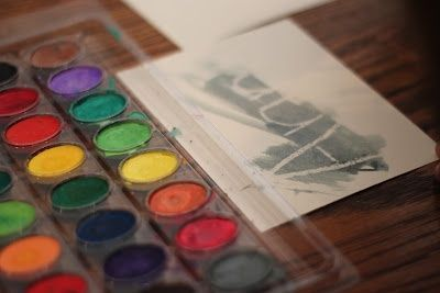 House: Watercolor Resist Paintings.  (Draw A's name in white crayon ...   - Learning at Home -
