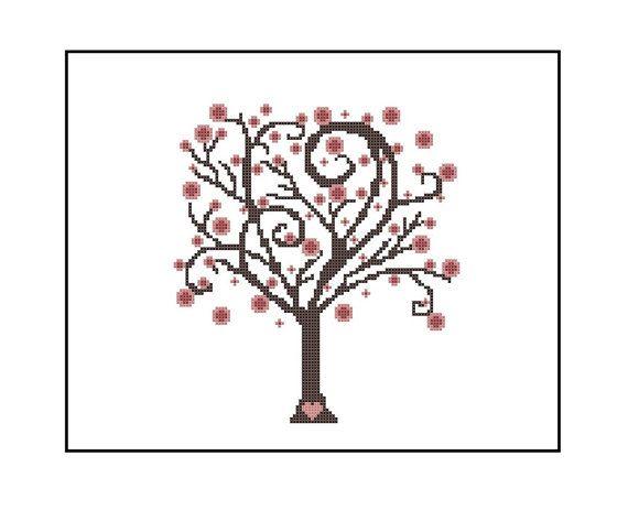 Cherry Blossom Tree Easy Cross Stitch Pattern Whimsical Etsy Cross Stitch Tree Simple Cross Stitch Cross Stitching
