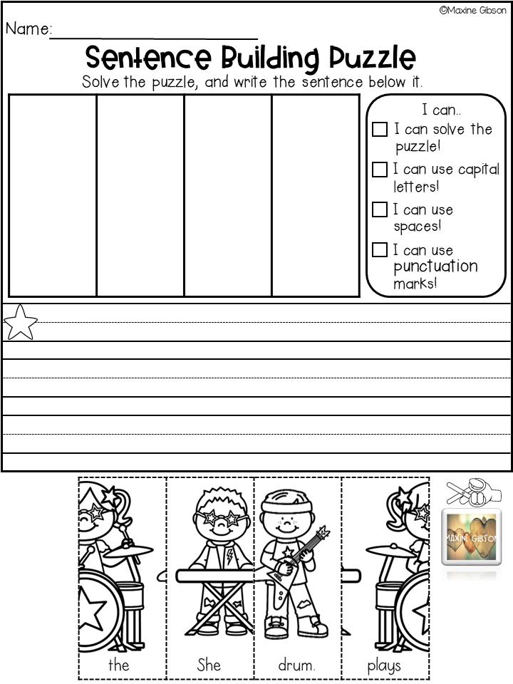 Sentence Building Puzzle October Kindergarten Writing First Grade Writing Teaching Kindergarten