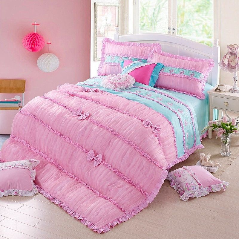 korean embroidery floral duvet cover set beautiful bowknot cotton bedding set fadfay