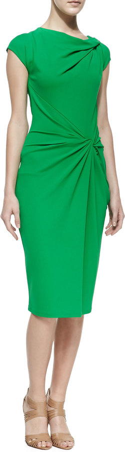 Michael Kors Matte Jersey Twist-Front Dress, Palm