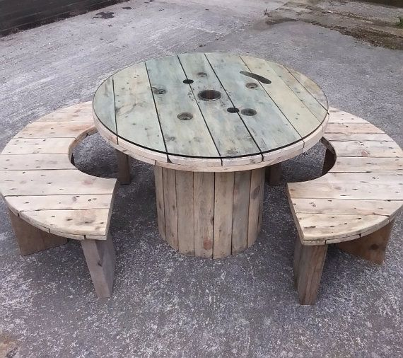 exciting cable spool kitchen table | Unique Upcycled Industrial Dining Table & Bench Set by ...