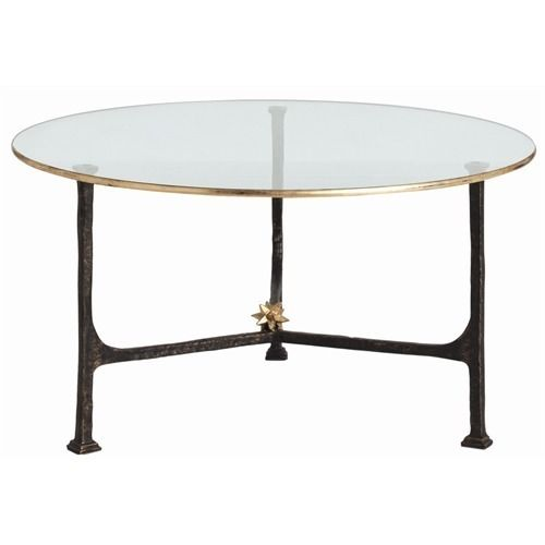 Elegant Round Cocktail Table With Clear Glass Surface And Gold Leaf Metal Border Banding Is Support Coffee Table Contemporary Coffee Table Stylish Coffee Table
