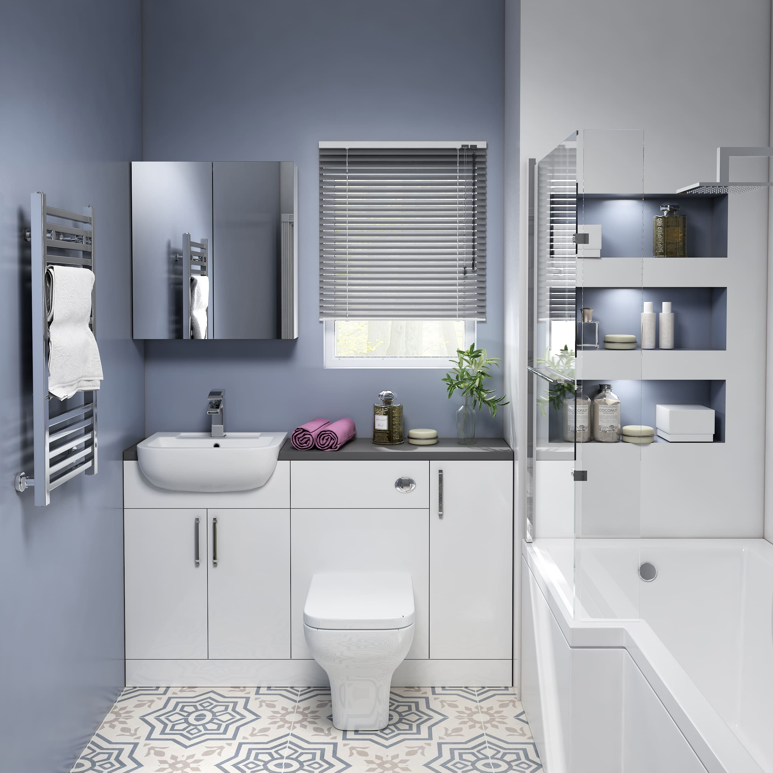 Oliver 1400 Fitted Bathroom Suite In 2020 Fitted Bathroom Toilet And Sink Set Fitted Furniture