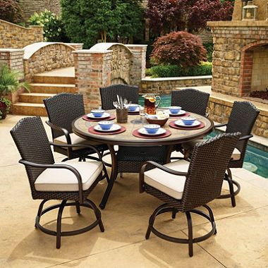 Member S Mark Agio Heritage 7 Piece Balcony Height Patio Dining Set With Sunbrella Fabric Dove Gray Sam S Club Patio Dining Set Patio Dining Furniture Patio Table Set