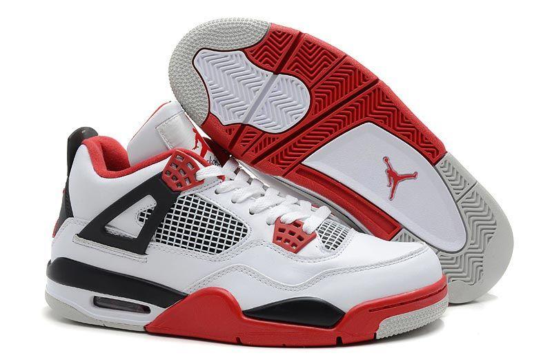nba kicks jordans 4 with colors white varsity red black shoes men style
