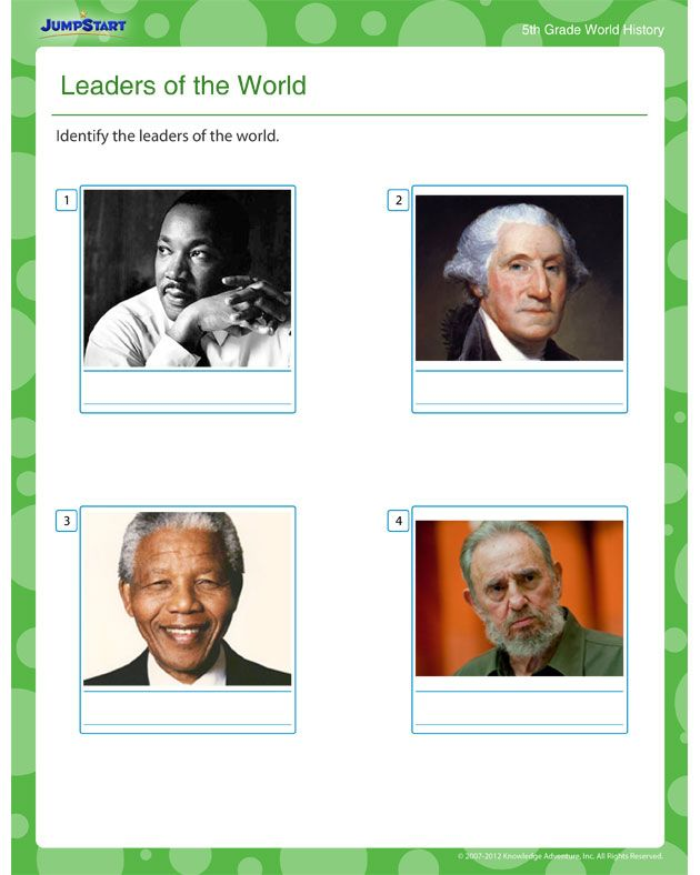 Leaders of the World World History worksheets for 5th Grade – Free History Worksheets