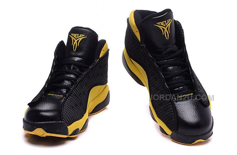 detailed look f132b a3878 Air Jordan 13 Melo Carmelo Anthony Nuggets Away PE Black Yellow Gold,  Price   89.00