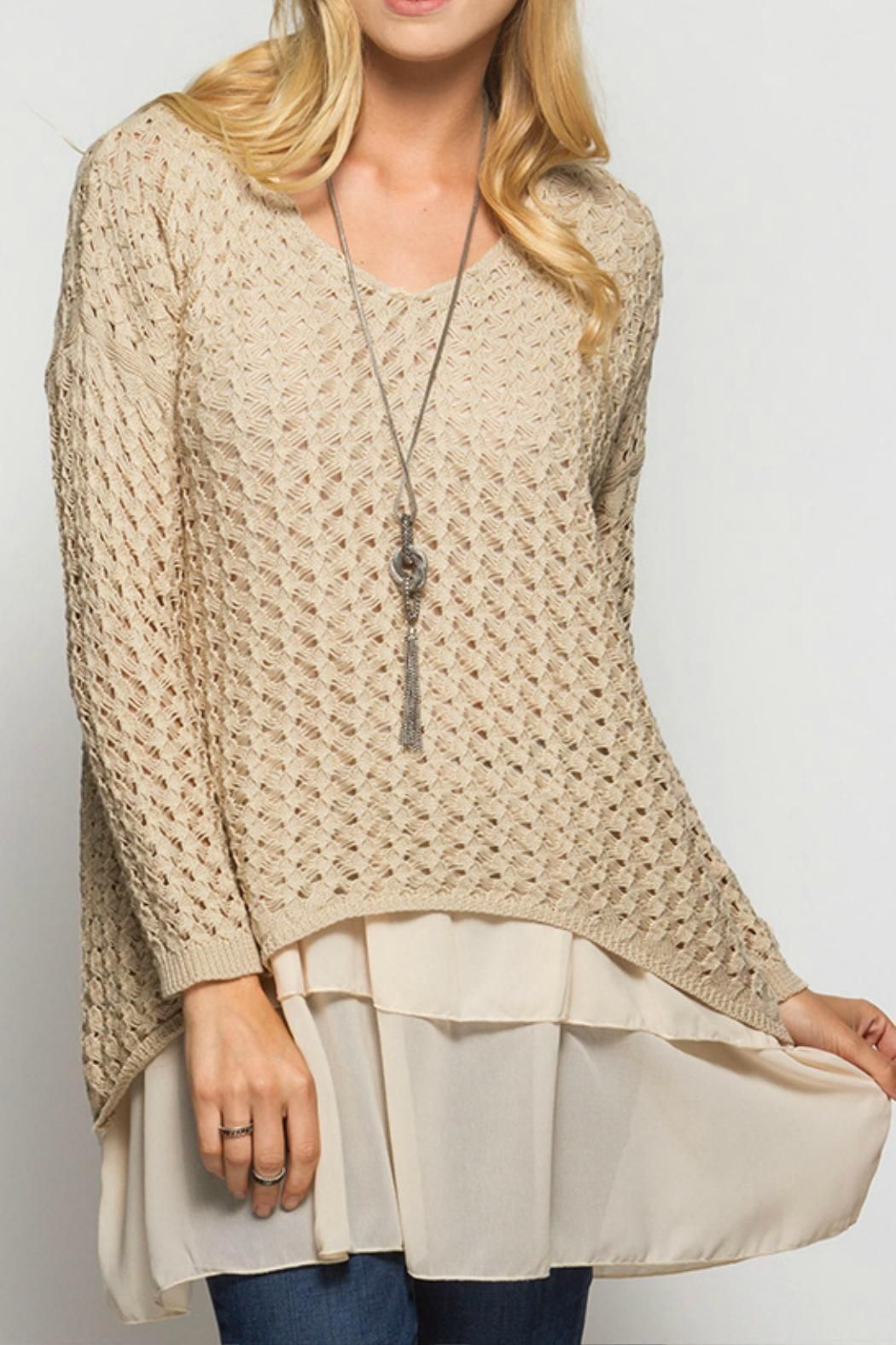 She + Sky Beige Beauty Sweater Long sleeve sweater