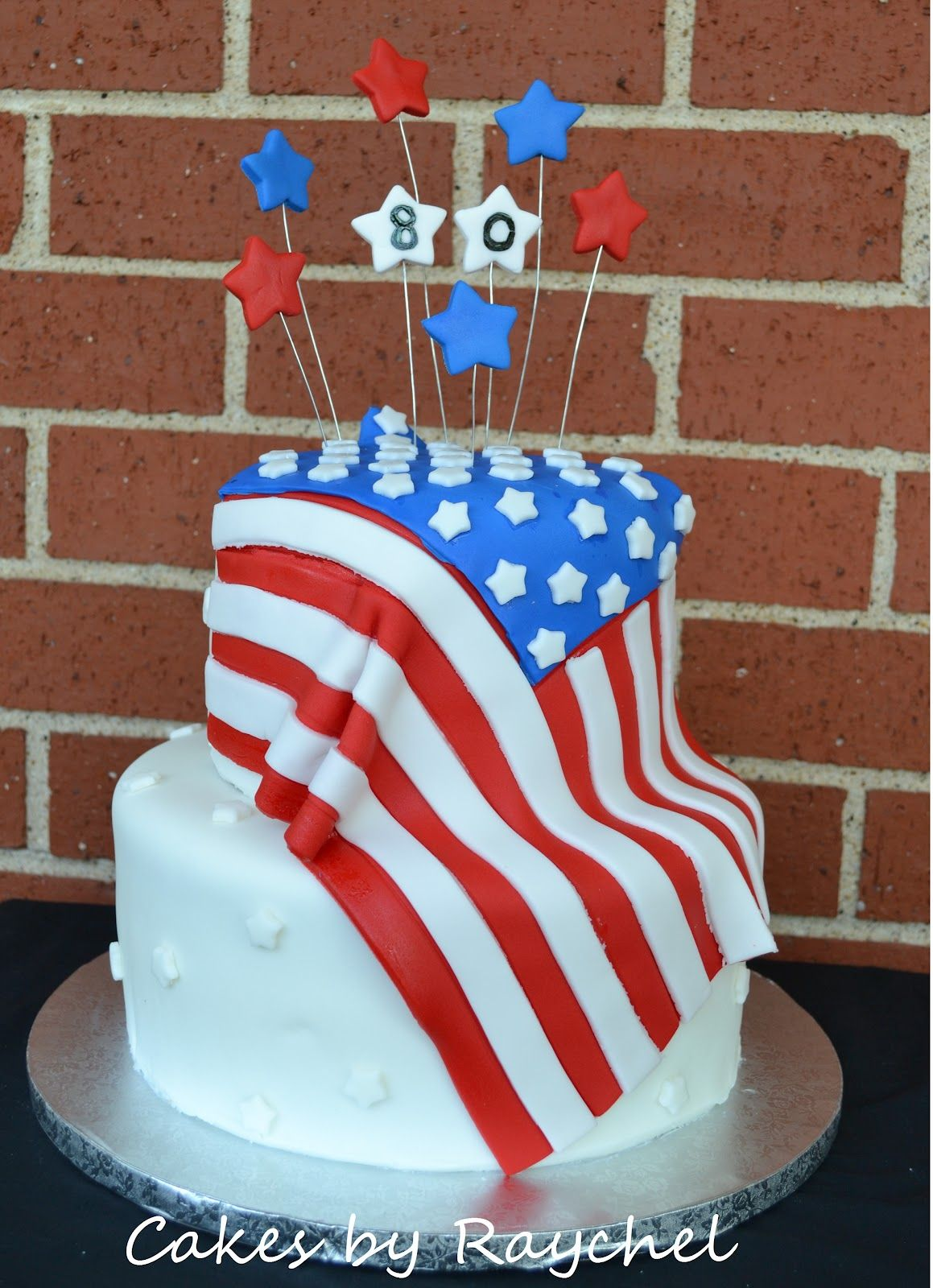 America Flag Fondant Cake