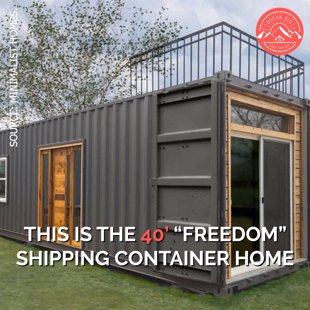 40 Freedom Shipping Container Home By Michigan Based Minimalist Homes Video Video In 2020 Container House Tiny House Living Room Container House Plans