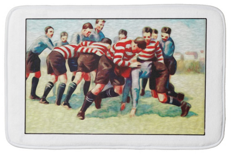 Rugby Game Small Bath Mat A Rugby Gift To Remember Each Time You Step Out Of The Bath Made From Luxuriously Soft Memo Small Bath Mat Rugby Gifts Bath Mat Rug