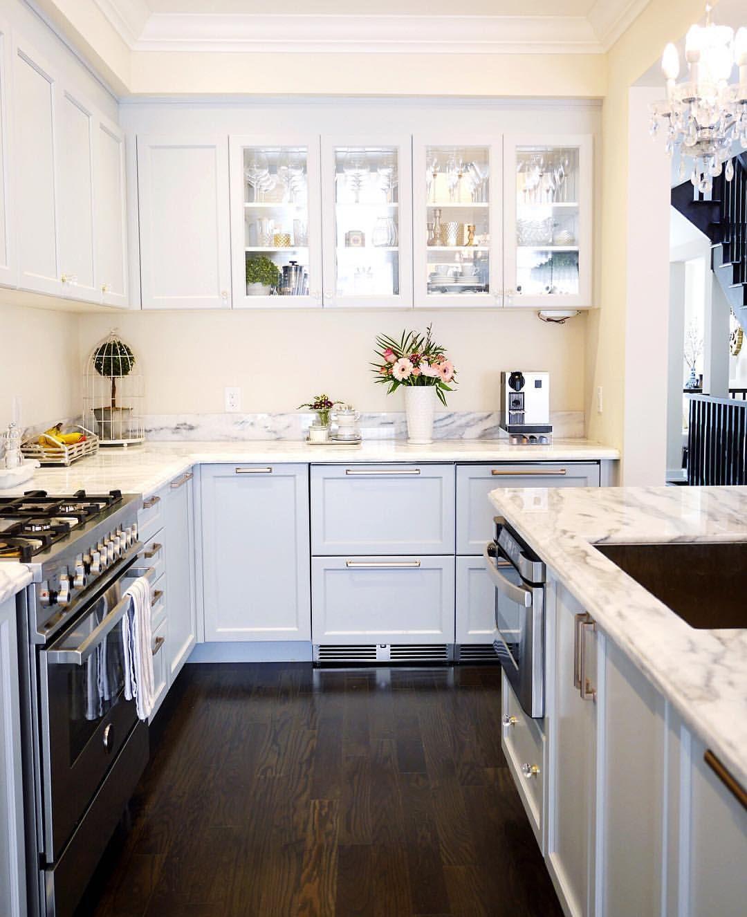 Kitchen design | glass cabinet. Coffee station | @classyglamliving ...