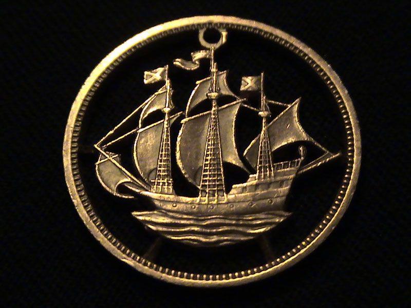 Bronze Half Penny – Great Britain, 1959  Cut-coin jewelry