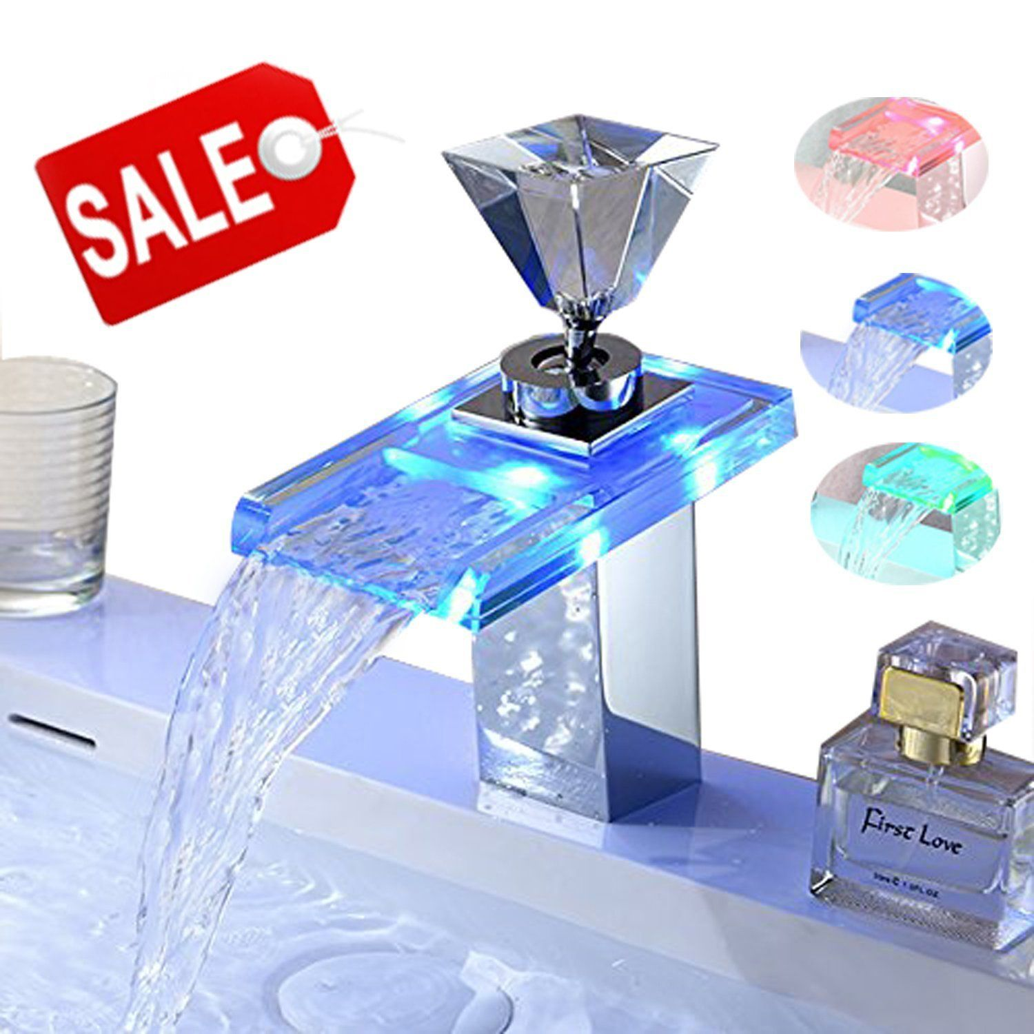 OOFAY TAPS® LED RGB Light Water Color Change Waterfall Glass ...