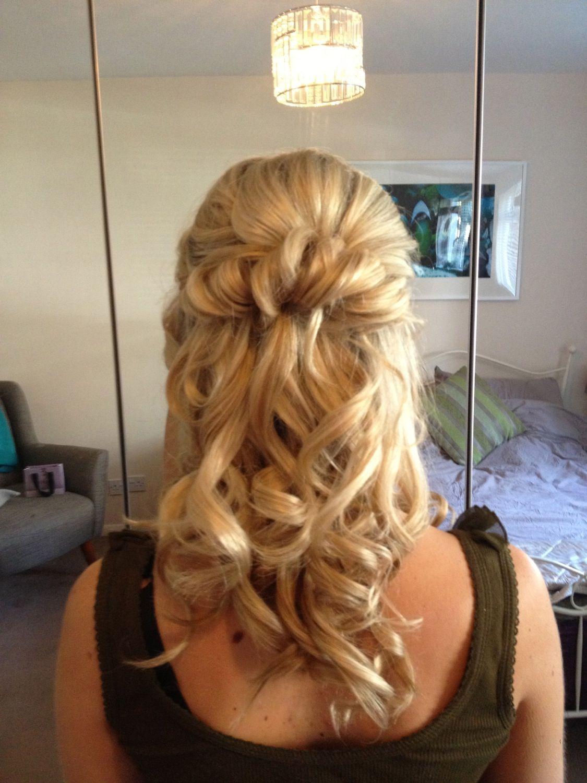 Bridal hair half up half down with a wave bridal half updo hair