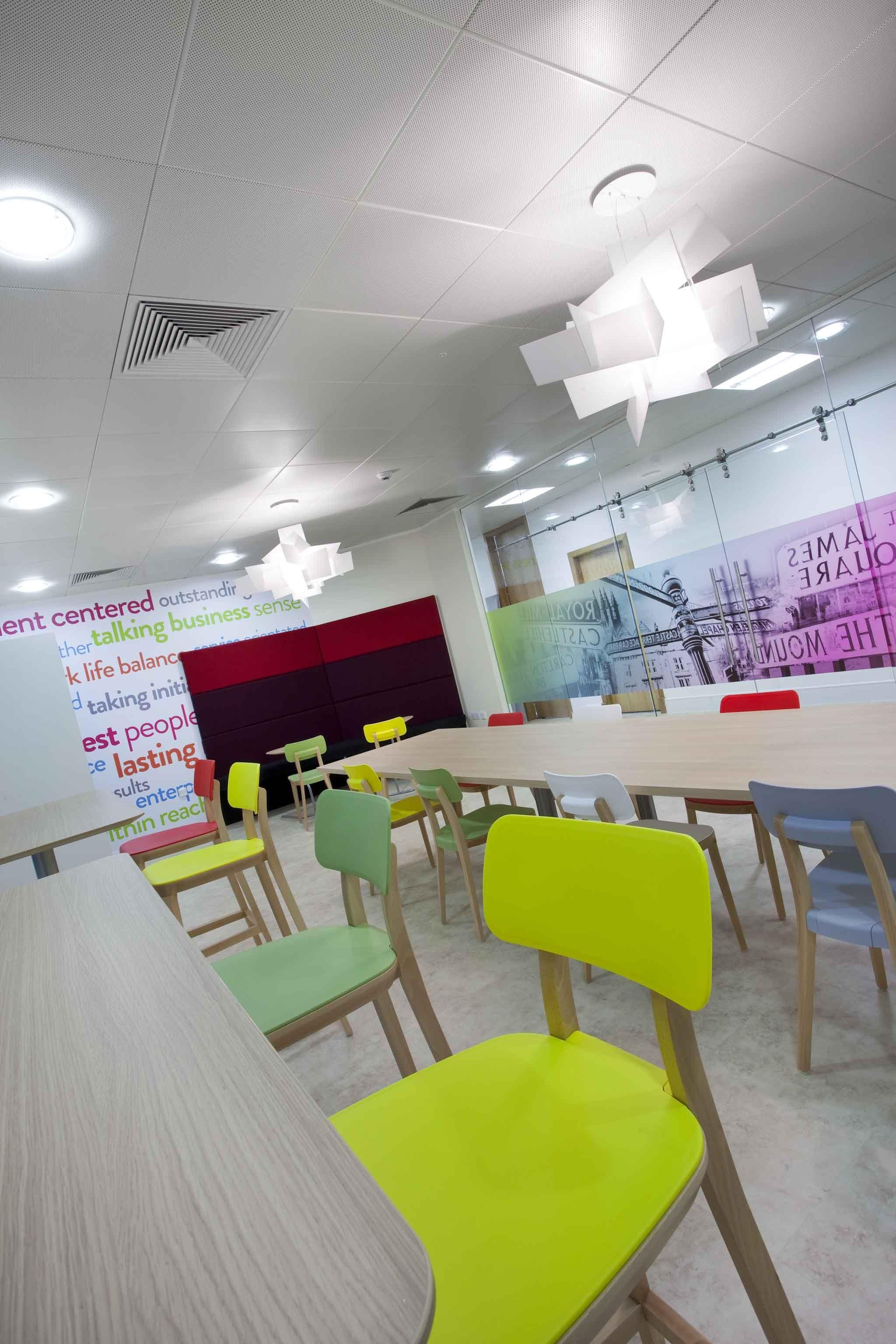 Staff kitchen interior design colourful manifestation wall graphic office design