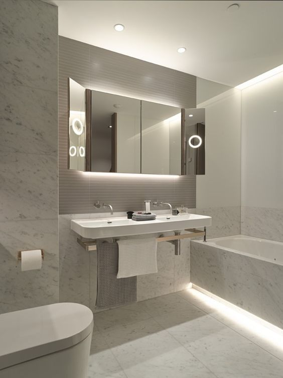 Cool White Led Strip Lights Look Fantastic In This Modern Bathroom You Can Get Them Here Http Www Stylish Bathroom Modern Bathroom Modern Bathroom Design