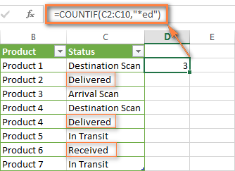 Excel Countif Formula To Count Cells That End With Certain Text Excel Excel Tutorials Excel Formula