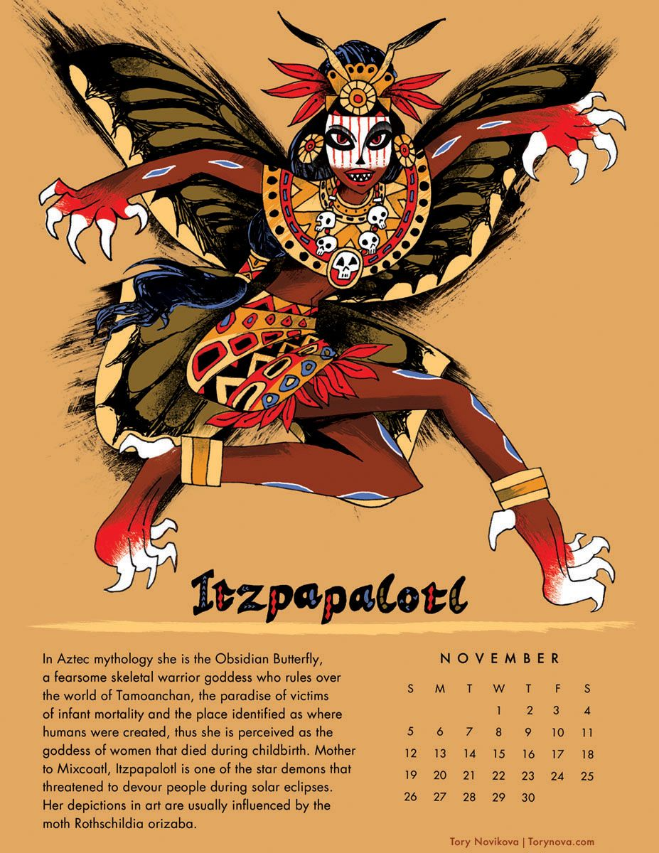 Itzpapalotl, aztec obsidian butterfly. Part of the illustrated Powerful Women for 2017 calendar by Tory Novikova #aztec