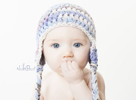 Chunky Hand Crochet Baby Nordic Fair Isle Ear Flap Hat | Flap hat ...