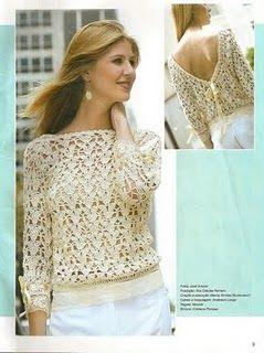 CARAMELO DE CROCHET: blusa con escote v en espalda