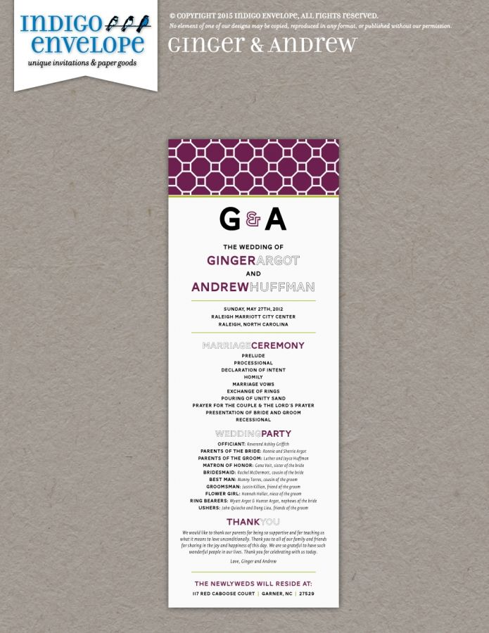 This wedding program followed the simple clean design of the